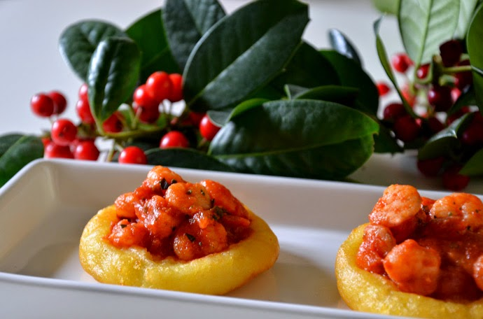 Antipasti Per Il Pranzo Di Natale.Antipasti Per Il Pranzo Di Natale Cestini Di Patate Con Gamberetti